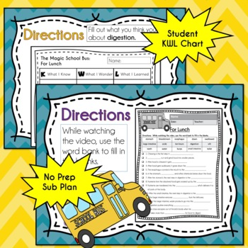 Magic School Bus FOR LUNCH Video Guide, Sub Plan, Worksheets, Lesson, DIGESTION