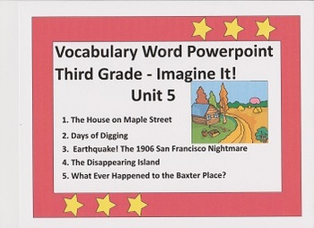 PowerPoint - Vocabulary Words- Imagine It! Third Grade Unit 5