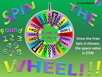 Powerpoint spin the wheel vocabulary game template by for Wheel of fortune ppt template