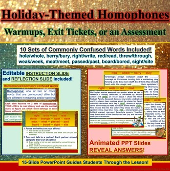 PowerPoint: Winter Holiday Interactive 10-Set Homophones Practice