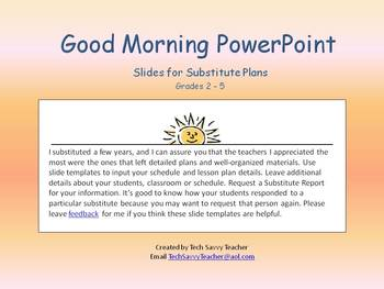 PowerPoint for Daily Classroom Organization FREE Substitute Plans Slide