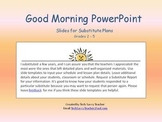 PowerPoint for Daily Classroom Organization FREE Substitut