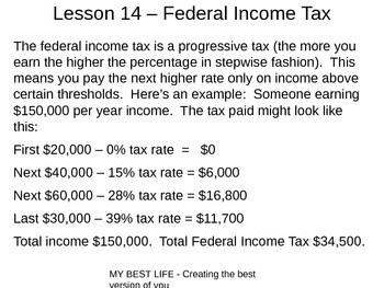 PowerPoint for Lesson 14 (Taxes) - My Best Life