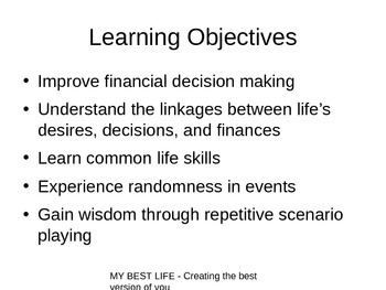 PowerPoint for Lesson 01 (Scenario Planning) - My Best Life