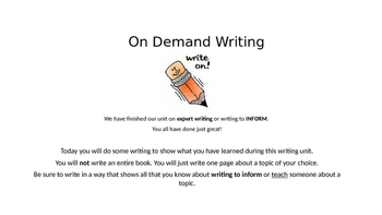 PowerPoint for On Demand Writing: Informational