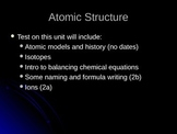 PowerPoint on Atomic Structure Basics and Historical Aspects
