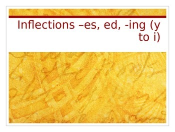 PowerPoint on inflections –es, ed, -ing (y to i)