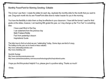 PowerPoints for Morning Message/Greeting