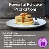 Powerful Pancake Proportions TEKS 6.5A 6.6A