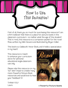 Powerful Picture Books Companion Packet: Rosa