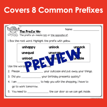 Prefixes Unit Worksheets Quiz Flap Book