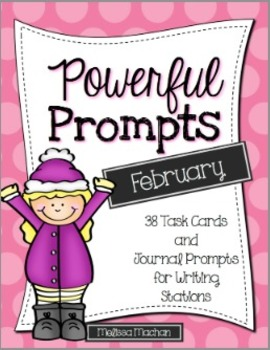 Writing Prompts-February {Task Cards and Journal Prompts for Writing Stations}