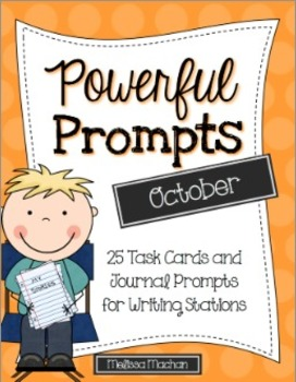 Writing Prompts-October {Task Cards and Journal Prompts for Writing Stations}