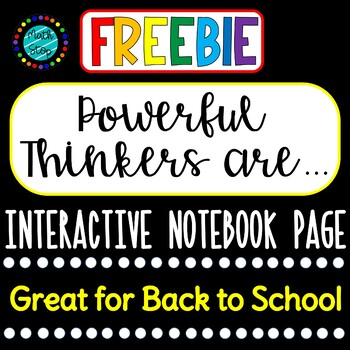 Powerful Thinkers are... Interactive Notebook page FREE
