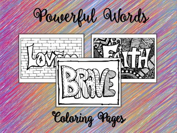 Powerful Words Coloring Sheets