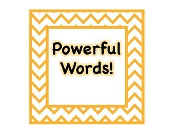 Powerful Words Set in Chevron Theme