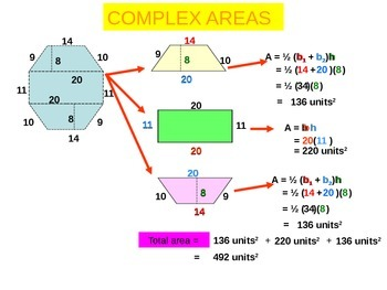 Powerpoint  Area and perimeter of complex shapes.