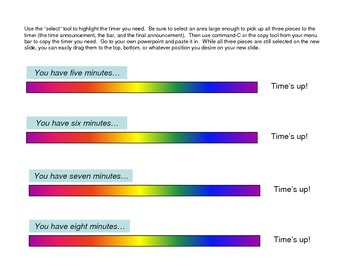 Powerpoint Classwork Timers (Rainbow Colors)