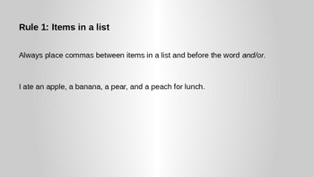 Powerpoint: Comma rules