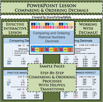 Powerpoint Comparing & Ordering Decimals Interactive Lesson Practice Activity