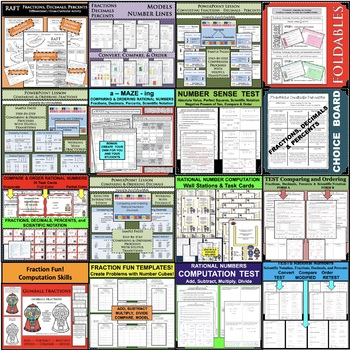 BUNDLE Fractions, Decimals, Percents, Scientific Notation PRACTICE & ASSESS