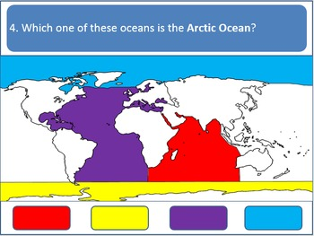 Powerpoint Game - Continents and Oceans (Earth Geography)