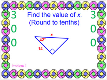 POWERPOINT GEOMETRY GAMES #3 (Special Right Tri, Trig, Circle Angles & Equation)