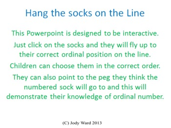Ordinal Numbers 1-10 - Powerpoint - Hang the socks on the Line
