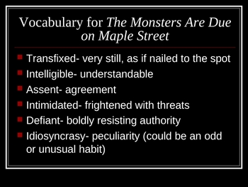 Powerpoint Lesson The Monsters Are Due on Maple Street