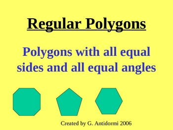 Powerpoint Lesson on Interior and Exterior Angles of Polygons