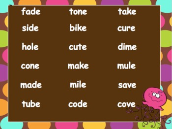Powerpoint Phonics Drill Long vowels Mixed (CVCe)