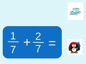 Powerpoint: Pirate Penguin: Math: Add/Sub Fractions w/common denom.: Powerpoint