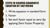 Powerpoint Presentation Bundle on Quadratic Equations and