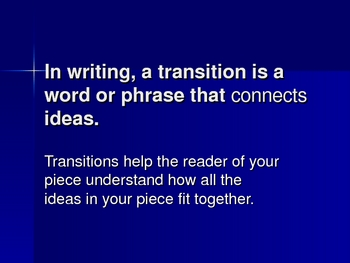 Powerpoint Presentation Using Transitions in Writing