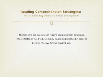 Powerpoint: Reading Comprehension: Strategies, Instruction & Why It's Important