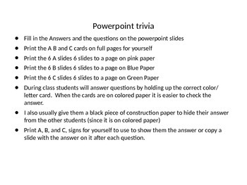 Powerpoint Trivia Template (Directions in Description)