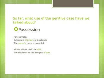 Powerpoint: Uses of Genitive Case (Latin I or II)