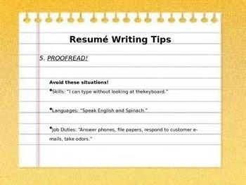 Powerpoint: Writing a Resumé