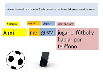 Powerpoint answers to practice quiz for AR verbs and gustar