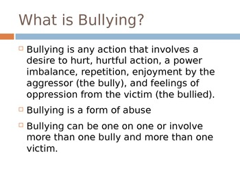 Powerpoint for Bullying lesson
