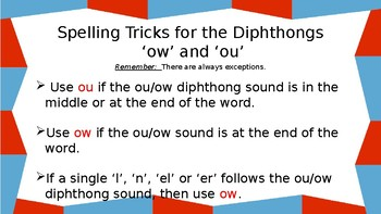 Powerpoint for Introducing Diphthongs 'ou' and 'ow'