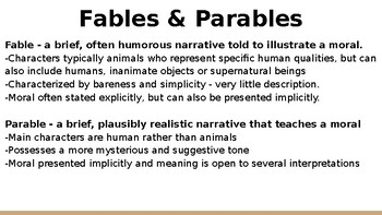 Powerpoint for Fables, Fairytales and Short Stories Unit