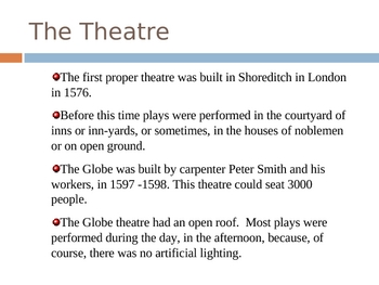 Powerpoint on Life of Shakespare and Globe Theater