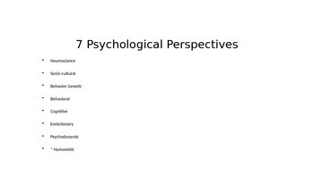 Powerpoint on Psychological Perspectives