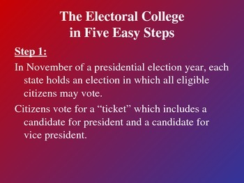 Powerpoint on the Electoral College - notes, lesson, election process, elections
