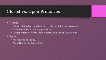 Powerpoint on the Electoral Process