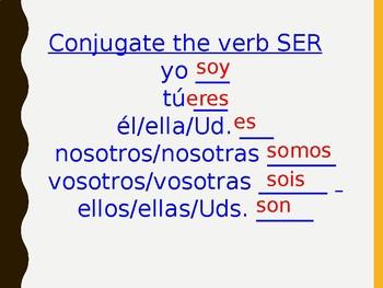 Powerpoint practice the verb ser in Spanish