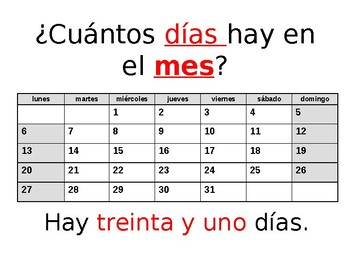 Powerpoint practicing numbers 1-31 in Spanish