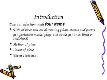 Powerpoint presentation on writing literary essays