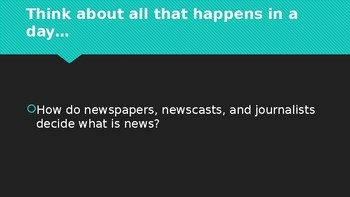 Powerpoint slides: What makes a story newsworthy? Elements of news